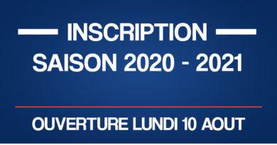 INSCRIPTION SAISON 2020-2021
